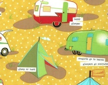 BTHY Moda Glamping Campers Fabric Honey Yellow Mary Jane Butters Very RARE! out of print So beautiful!