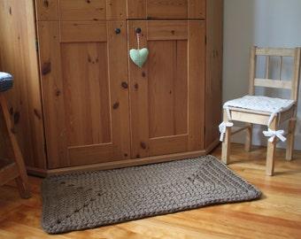 Crochet knitted floor rug, handmade rectangle mat