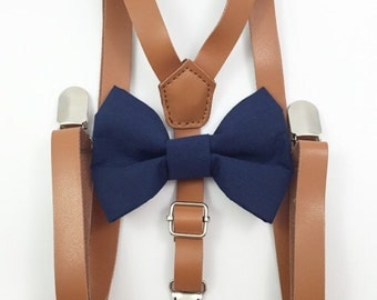 FREE DOMESTIC SHIPPING! Skinny 1/2 inch light brown faux leather suspenders and navy blue bow tie wedding pictures birthday formal