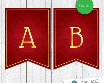 Small Red Damask Hearts Themed Banner :  Printable Party Banner All Letters 0-9 numbers and bonus icons