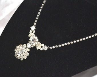 Vintage Trifari Clear Layered Rhinestone Necklace