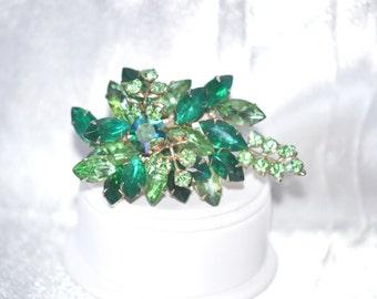 Vintage Multi Layered Brooch of Green Rhinestones Floral Spray