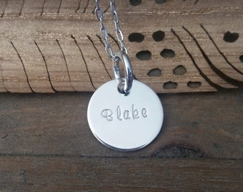 Hand Stamped Jewelry-Personalized necklace-Sterling Silver Hand Stamped Name Necklace-Mother-Grandma-Wedding-Couples-Friend-Baby-Children
