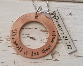 Hand Stamped Jewelry-Personalized Scripture Necklace-Copper-Her Worth Is Far Above Rubies Proverbs 31 10-Proverbs Wife-Two Metal Toned