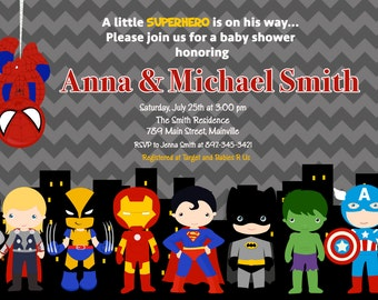 SUPERHERO Baby Shower Invitation - Printable or Printed with FREE SHIPPING