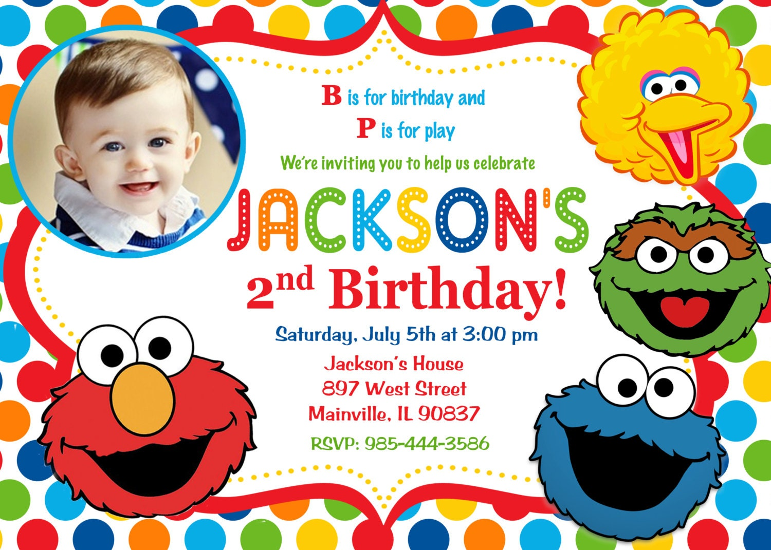 Sesame Street Invitation with beautiful invitations example