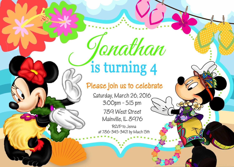 Minnie Mouse Luau Beach Invitation Free Template – orderecigsjuice.info
