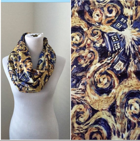 Doctor dr who scarf exploding tardis van gogh style now available in regular and infinity