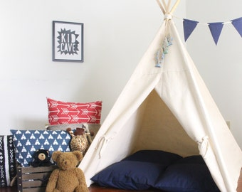 Canvas Play Teepee, Ready To Ship, Can Include Window, Large Kids Teepee Tent, Secret Hiding Place, Playhouse, Tee Pee