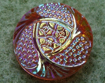 Czech Glass Button 23mm - hand painted - pink with AB luster (B23309)