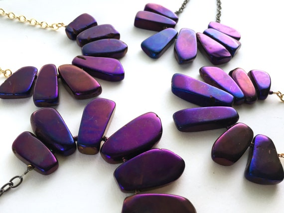 Purple Agate Statement Necklace // Gold, Silver or Gunmetal //