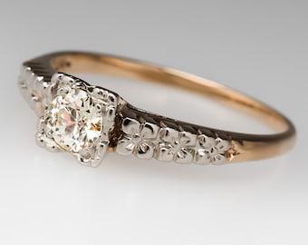 1940's Vintage 1/4 Carat Old European Cut Diamond Floral Etched 14K Ring WM10393