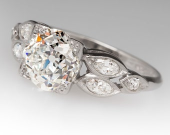 1930's Platinum 1.83 Carat Old European Cut Diamond I/VVS1 Engagement Ring CN11433