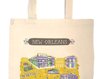 New Orleans Tote Bag-City Tote-Louisiana Bag-Any City Tote-Green-Purple-Gold-Gray-Personalized-Custom