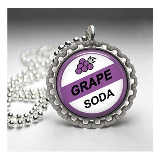 Disney UP GRAPE SODA Inspired Flat Bottle Cap Necklace
