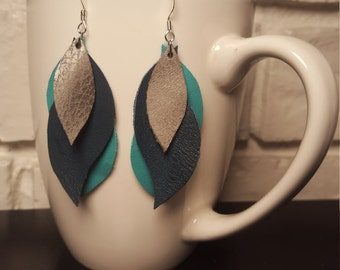 Navy, Teal and Pewter Leather Swirl Earrings