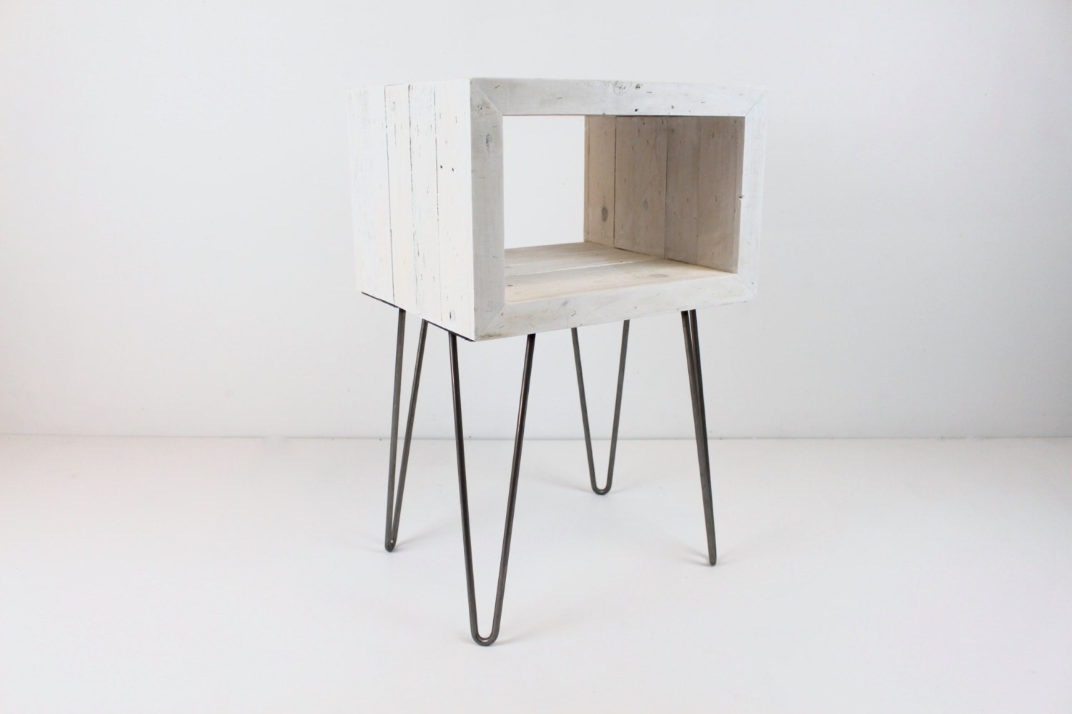 Reclaimed Wood Rustic Modern White Washed Open Side Table/ End
