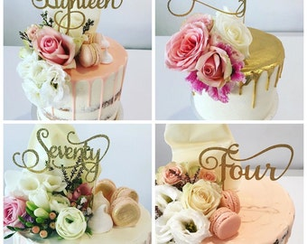 Age Cake Toppers - Gold Glitter - Birthday Cake Topper - Number  Cake Topper - Thirty - Forty - Fifty - Sixty - Seventy - Eighty - Ninety