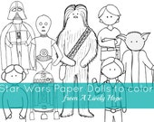 Star Wars Paper Doll Play Set to color
