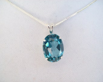 XL Oval Blue Spinel Pendant in Sterling Silver Big 20x15 mm