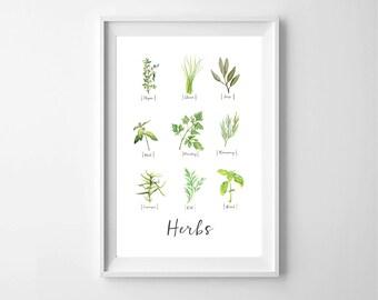Watercolor Herb Print, Kitchen Herbs Wall Art Print, Herb Print, Watercolor Herbs, Kitchen Style Art, Digital, Instant Download