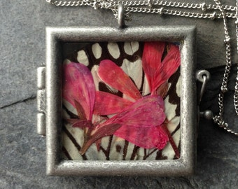 Butterfly and Botanical Pendant