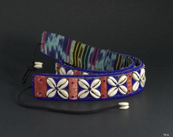 Cowrie Shell Belt, Cobalt Blue Glass Beads, Tribal, Boho Belt, Cowrie Sash
