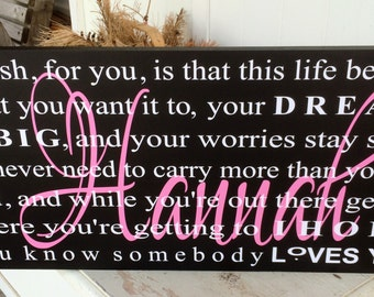Graduation Sign My Wish For You With Layered Name - Your Choice Of Colors - College Dorm Deco