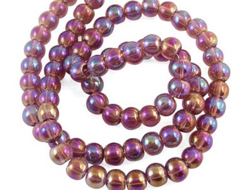"Glass Bead Strands, AB Color Plating, Round, Coffee, about 4mm in diameter, hole: 1mm; about 80pcs/strand, 13"" #053"