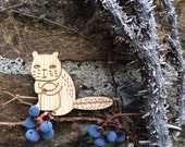 Beaver brooch, laser cut jewelry, christmas gift