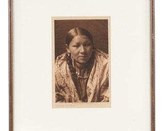 Cheyenne Young Woman  -original 1910  Native American Tissue Gravure Photograph by Edward Curtis