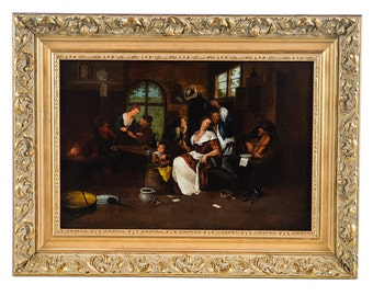 Dutch Interior Scene -original 19th century Oil painting