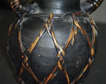 Black Basketed Vase