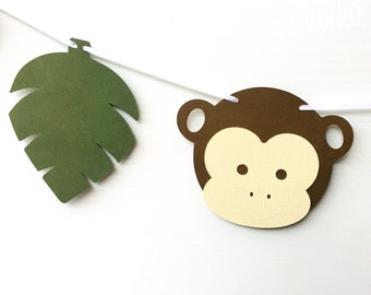 Jungle Monkey Party Banner. Little Monkey & leaf, Birthday Party, Baby shower. First birthday, photo prop, party decor. Jungle party theme.