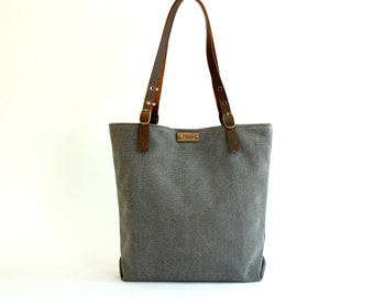 Grey canvas bag | Grey Tote | Mikuya Canvas Bag