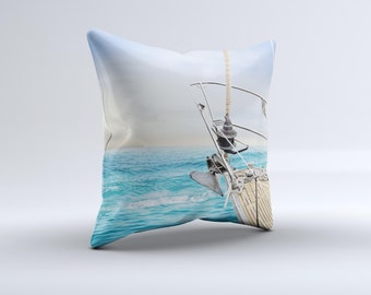 The Vibrant Ocean View From Shipink-Fuzed Decorative Throw Pillow