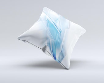 Blue HD Glass Shard ink-Fuzed Decorative Throw Pillow