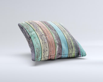 The Chipped Pastel Paint on Wood ink-Fuzed Decorative Throw Pillow