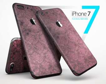 Grungy Black and Maroon Damask Pattern - Skin Kit for the iPhone 7 or 7 Plus, 6 or 6s Plus, 5/5s/SE, 5c & More