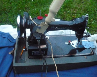Vintage Black Kenmore Electric Sewing Machine 148.1123 With Foot Pedal Motor Made in the USA