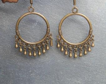 Creole ethnic earring / Bronze / Boho / Hippie