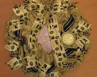 "Burlap Time ""key"" per Wreath/ Old Time Charm Burlap Wreath/Antique Styled Wreath"