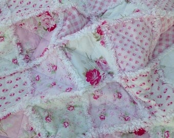 Baby Girl Rag Quilt, Crib Quilt, Toddler Blanket, Vintage Victorian Style , Shabby Style, Slipper Roses, 35 X 48. Pink, White, Ready to Ship