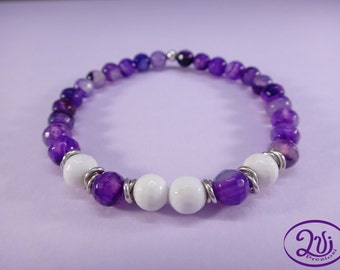 Elastic bracelet with violet and white agate stones and silver 925 women