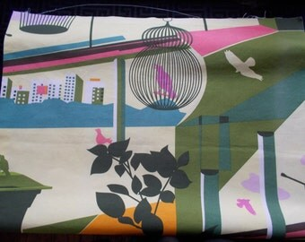 Ikea Lotta Kuhlhorn  2008 Collection Yellow Birds, Birdcages, Abstract  One Panel
