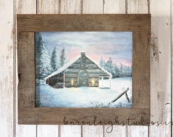 Pallet Framed Winter Cabin at Dawn