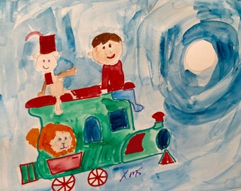 Boy, Monkey, Lion on Train flying, Sweet Dreams, Whimsical Art, Lilymoonsigns Painting,