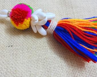 1 PC Cowrie Shell Tassel,Purse & Handbag Decoration,Cowrie Shell Swag,Woolen Tassel,BOHO Decoration - Multicolor