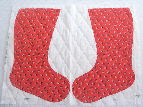 Vintage 70s Red Calico Christmas Stocking Quilted Fabric