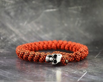 Skull Paracord Bracelet - Orange/Black - Handmade